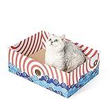 Conlun - Katzenkratzbox mit Katzen Kratzbrett – Tragbare 3-schichtige Wellpappen-Liege mit doppelseitigem Katzen Kratzpappe und interaktivem Lochdesign