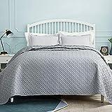 BEDSURE Tagesdecke 200x220 grau Schlafzimmer- Bettüberwurf 200 x 220 cm für Bett, Wohndecke aus Mikrofaser mit Ultraschall genäht, als Steppdecke Sommer Komfort Bed Spread